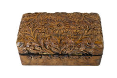 Handcarved wooden box Royalty Free Stock Photo