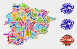 Handcollage van de Kaart van Andorra en Geweven Met de hand gemaakte Verbindingen royalty-vrije illustratie