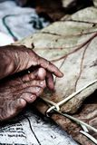 Handcraft. Making of handcraft with leaves Royalty Free Stock Images