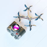 Handcraft Aerial drone and Vintage Photo Camera. Aerial drone and Vintage Photo Camera Stock Photography