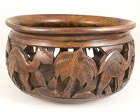 Handcraft Antique Camel Textured Brown Rosewood Wooden Bowl Stock Photo
