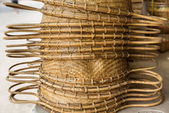 Handcraft basket bamboo weave. Royalty Free Stock Images