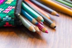 Handcraft Bleistiftkasten und Farbphotographie Stockfotos