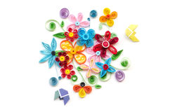 Handcraft of colorful quilling paper flower stock photos