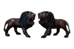 Handcraft drewnianego lwa odizolowywającego Zdjęcia Stock