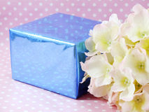Handcraft gift boxes and beautiful hydrangea of artificial flowers bouquet Stock Photos