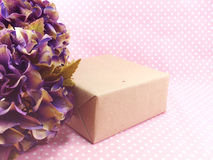 Handcraft gift boxes and beautiful hydrangea of artificial flowers bouquet Royalty Free Stock Image