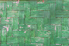 Handcraft of green bamboo weave texture for background.  Royalty Free Stock Photo