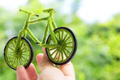 Handcraft green bicycle Royalty Free Stock Photos