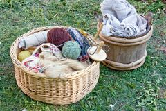 Handcraft Items In Baskets Stock Photos