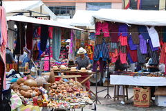Handcraft market in the town of Otavalo, Ecuador. The handcraft market of the town of Otavalo, Ecuador, South America. This is a common touristic destination in royalty free stock photography