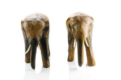 Handcraft wood elephant sculpture Royalty Free Stock Images