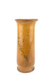 Handcraft wood vase isolated on white background clipping path Stock Photography