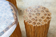 Handcraft of wooden chair and table Royalty Free Stock Photos