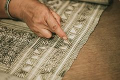 Handcraft work hand made pattern weave hill tribe royalty free stock photo