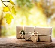 Handcrafted подарочные коробки с предпосылкой листвы осени Стоковые Фотографии RF