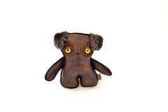 Handcrafted таможней заполненный кожаный щенок игрушки - фронт Стоковое Изображение RF