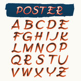 Handcrafted Alphabet in Retro Poster Style Royalty Free Stock Photography