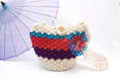 Handcrafted bag. With summer umbrella Royalty Free Stock Images