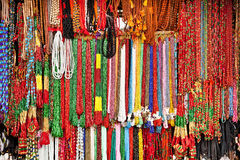 Handcrafted beads in lockal shop, Nepal. Royalty Free Stock Photos