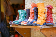 Handcrafted boots exposure to Pienza, Tuscany Royalty Free Stock Photo