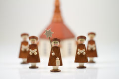 Handcrafted Carolers with white background, produced in Erz Mountains, Germany Royalty Free Stock Images