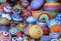Handcrafted colorful beaded pots Stock Photo