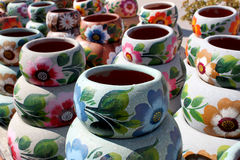 Handcrafted colorful clay pottery royalty free stock photography