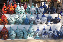 Handcrafted colorful turkish pottery Royalty Free Stock Images