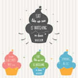 Handcrafted Cupcake Illustration on Typography Poster. Humorous saying for cards, labels and custom designs Stock Photography