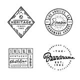 Handcrafted designed Apparel Labels in vintage style. Apparel Labels in vintage style. Perfect for branding projects, apparel design, clothing labels, t-shirt Stock Image
