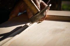 Handcrafted drewniany drzwi w ciesielce Fotografia Royalty Free