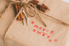 Handcrafted and ecological Christmas package Stock Image