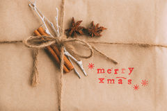 Handcrafted and ecological Christmas package Royalty Free Stock Photography