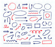 Handcrafted elements. Hand drawn vector arrows set. On white background Stock Images