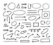 Handcrafted elements. Hand drawn vector arrows set. On white background Royalty Free Stock Photos