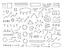 Handcrafted elements. Hand drawn vector arrows set Stock Image