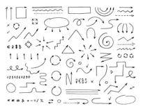 Handcrafted elementy Ręki rysować wektorowe strzała ustawiać royalty ilustracja
