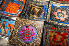 Handcrafted enamel plates Royalty Free Stock Image