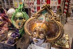 Handcrafted färgglade Venetian karnevalmaskeringar Royaltyfri Fotografi