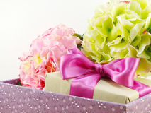 Handcrafted gift box with fresh flowers Royalty Free Stock Image
