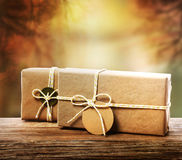 Handcrafted gift boxes with an autumn background Stock Photos