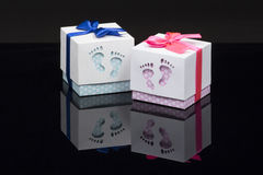 Handcrafted gift boxes in blue and pink color  Stock Photo
