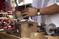 Handcrafted het Trompos traditionele Mexicaanse speelgoed stock foto