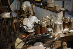 Handcrafted items on display at the silversmith Royalty Free Stock Photos