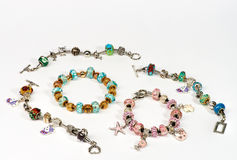Handcrafted jewellery with colourful beads Stock Image