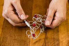 Handcrafted jewelry. Jewelry handmade by experienced goldsmiths with simple tools stock photo