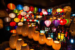 Handcrafted lanterns at night in ancient town Hoi An. Hoi An ancient town in Quang Nam province, Vietnam. Hoian is recognized as a World Heritage Site by UNESCO Royalty Free Stock Photos