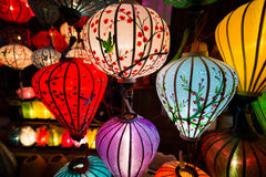 Handcrafted lanterns at night in ancient town Hoi An. Hoi An ancient town in Quang Nam province, Vietnam. Hoian is recognized as a World Heritage Site by UNESCO stock images