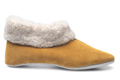 Handcrafted leather slipper with wool lining Stock Photo